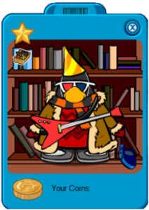 A Club Penguin member's player card.